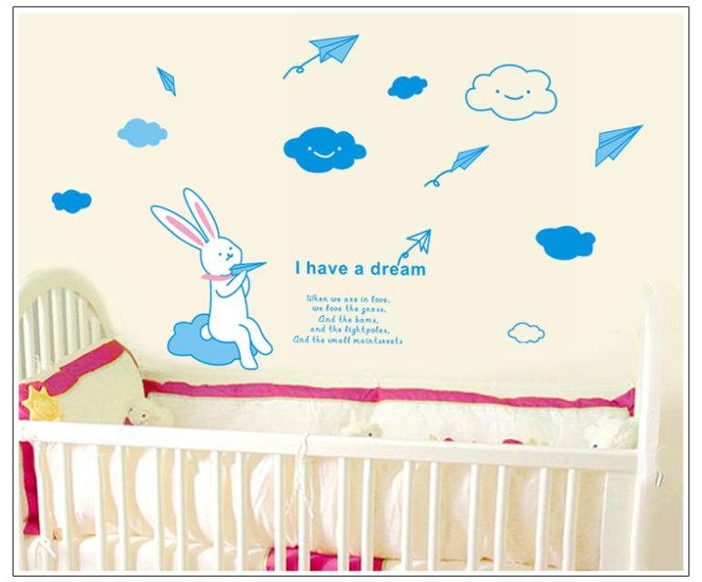 The rabbit fly paper airplanes wall stickers for kids room zy7038 wall decor removable pvc wall decals decorative DIY image