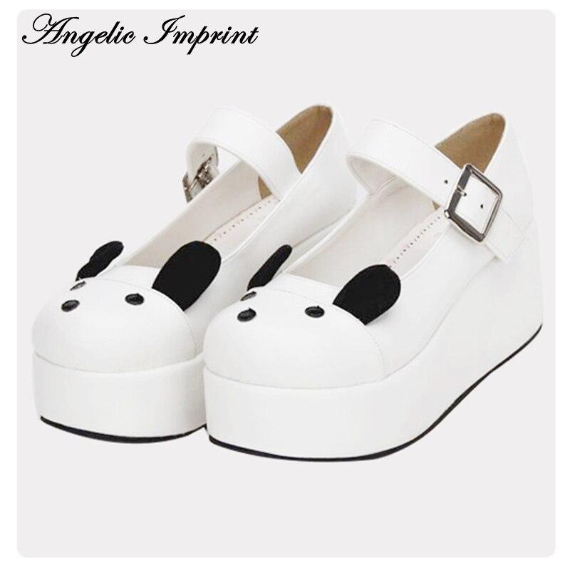 Kawaii Animal Design White Leather Platform Wedge Mary Jane Shoes Sweet Lolita Shoes