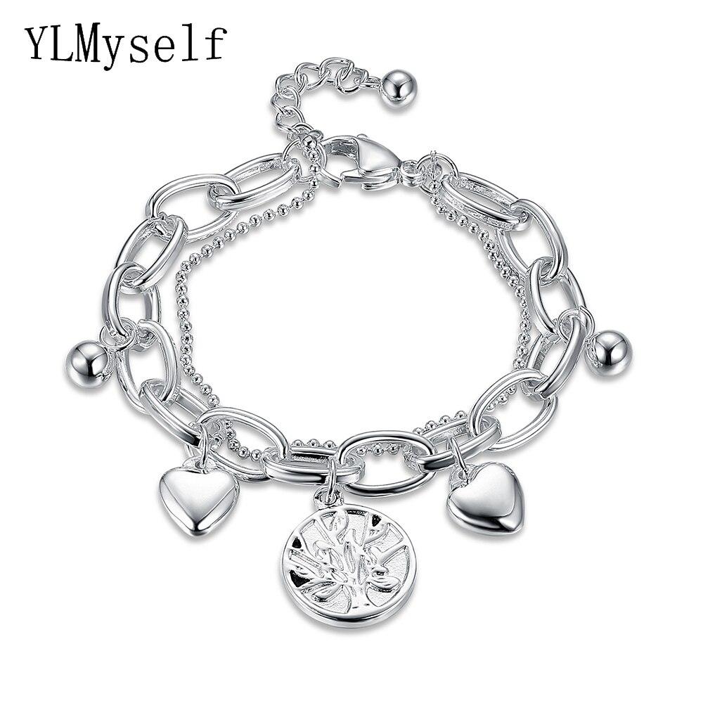 Acier inoxydable Femmes à la mode charmes Bracelet pulseira feminina vie de arbre coeur petit BRICOLAGE pendentifs chaîne Bracelets & Bracelet