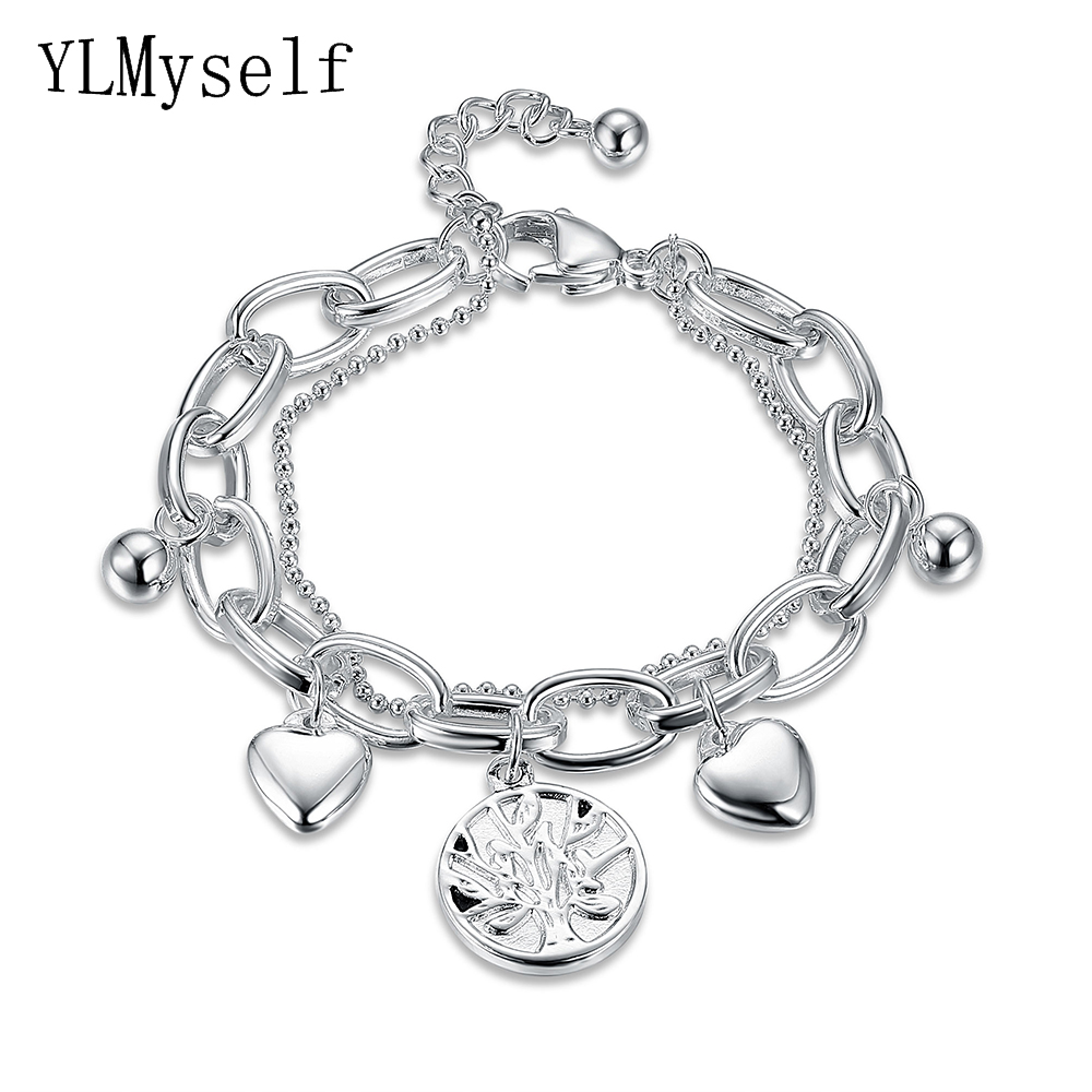 YLMyself Stainless Steel Women trendy charms Bracelet pulseira feminina life of tree small DIY pendants chain Bracelets & Bangle