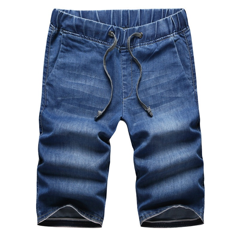 Summer Style New Men Jean Shorts Cotton Denim Homme Slim Stretch Drawstring Blue Casual knee Length Pants M-3XL