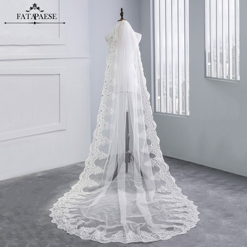 Long Veils Cathedral-Length Voile Comb Lace Mariage Appliques 3M With Wedding-Accessories
