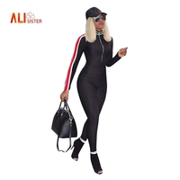 Alisister Black Jumpsuits Women Zipper Design Sexy Side Stripes Patchwork Slim Jumpsuit Full Length Overalls Streetwear