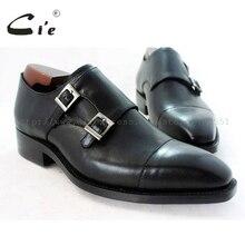 Cie正方形captoeメダリオンダブルモンク手作り革男性shoe100 %本物のカーフレザーアウトソール通気性黒MS46
