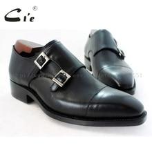 Cie kare captoe madalyon çift keşiş sapanlar el yapımı deri erkek shoe100 % hakiki dana derisi taban nefes siyah MS46