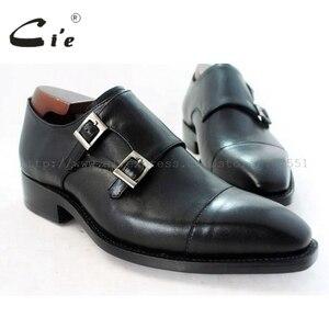 Image 1 - cie square captoe medallion double monk straps handmade leather men shoe100% genuine calf leather outsole breathable black MS46