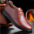 Men's Genuine Full Grain Leather Round toe Business Laceshoes Warm Winter Add Fur Flat Driving Footwear Plus size 38-47 Brown