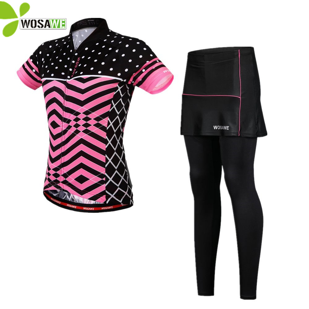 WOSAWE Cycling Sets Women Short Sleeve Jersey Skirt Pants Suit Quick Dry Ropa Ciclismo Bike Wear