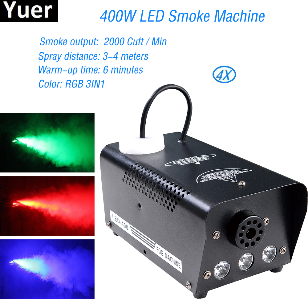 Remote Control 400W LED Smoke Machine With Wireless RGB 3IN1 Change Color Led Fog Disco DJ Equipment