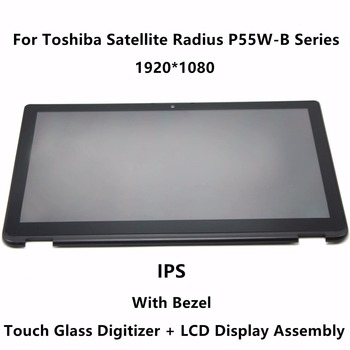 15.6'' IPS Panel LCD Screen Display Touch Glass Digitizer Assembly+Bezel For Toshiba Satellite Radius P55W-B Series P55W-B5224