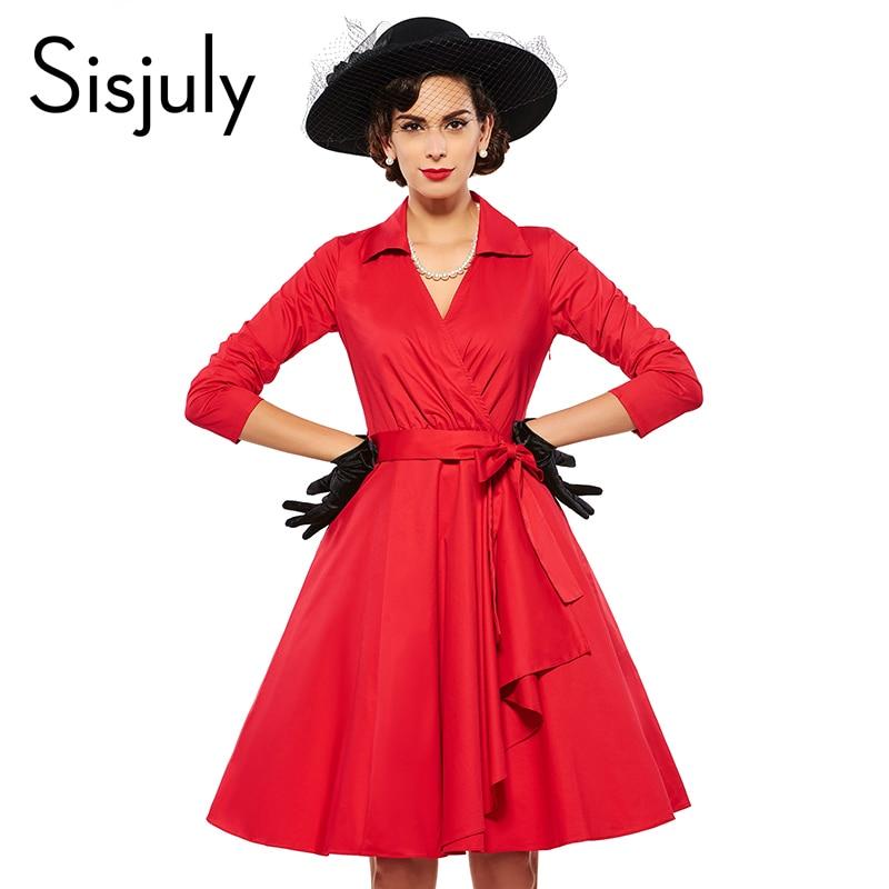 Sisjuly Vintage 1950s Autumn Women Dress V Neck Turn Down Collar Three Quarter Sleeve A Line