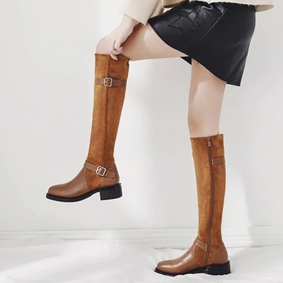 Shoes Woman Vintage High heeled Knee Women Long Tube Rider Boots Europe and America Martin Women's Boots Sexy Luxury large size