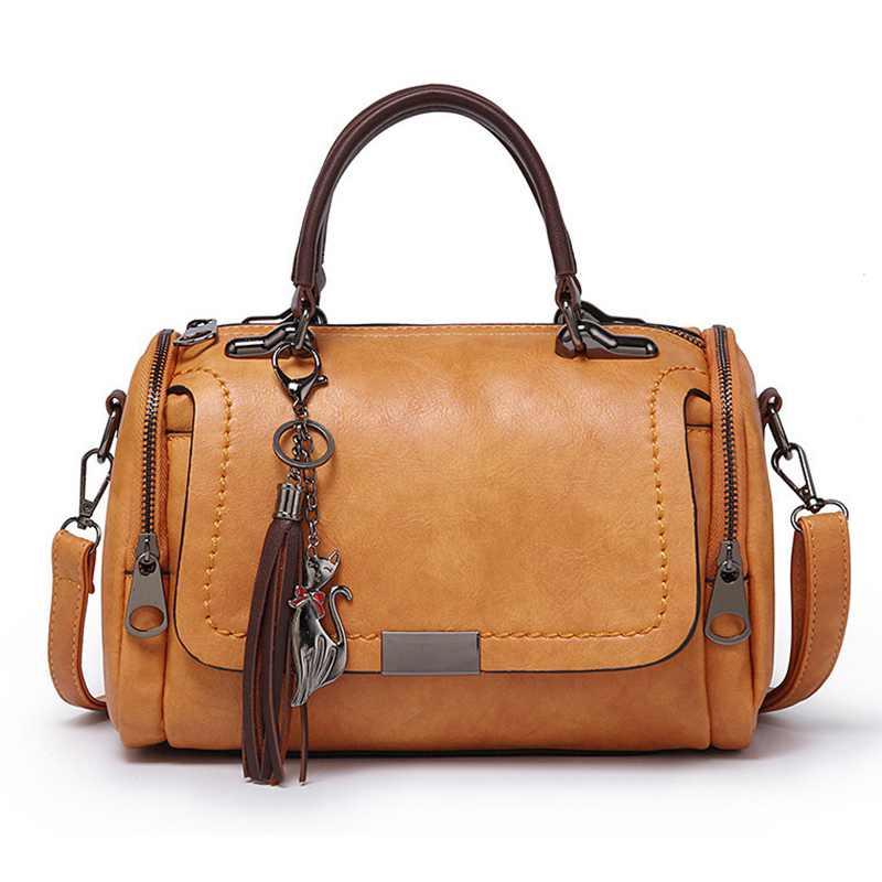 4aac918474 Delle Donne Borse Spalla Del Lampo Con borse brown Tracolla Signore Le Donna  Beau Vintage Cuoio ...