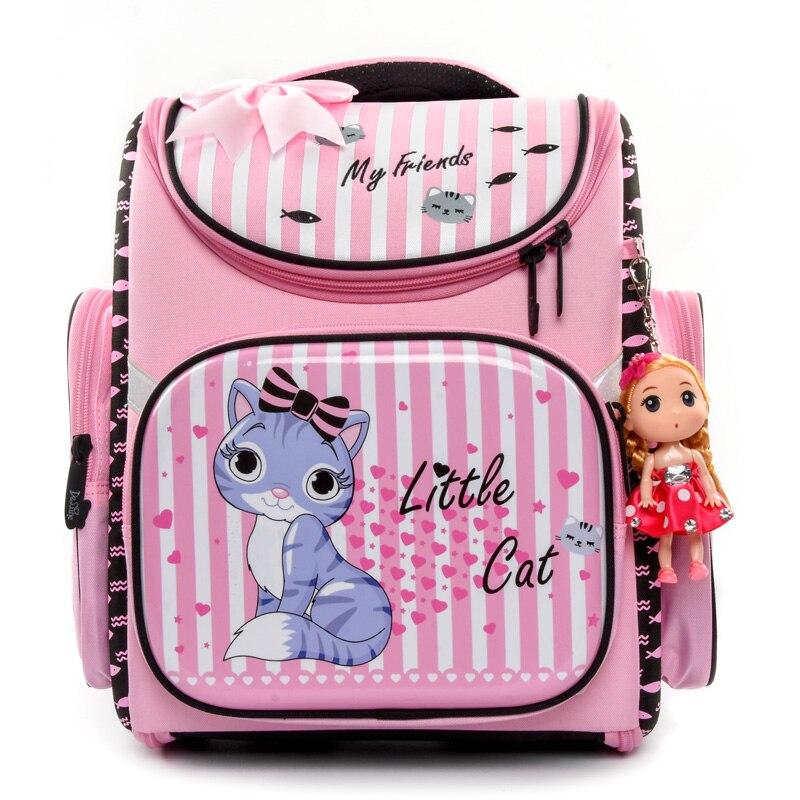 Delune Waterproof Children Backpack Girls Lovely Pink Cat Pattern Orthopedic School Bag EVA Satchel Mochila Infantil Grade 1 3-in School Bags from Luggage & Bags    1
