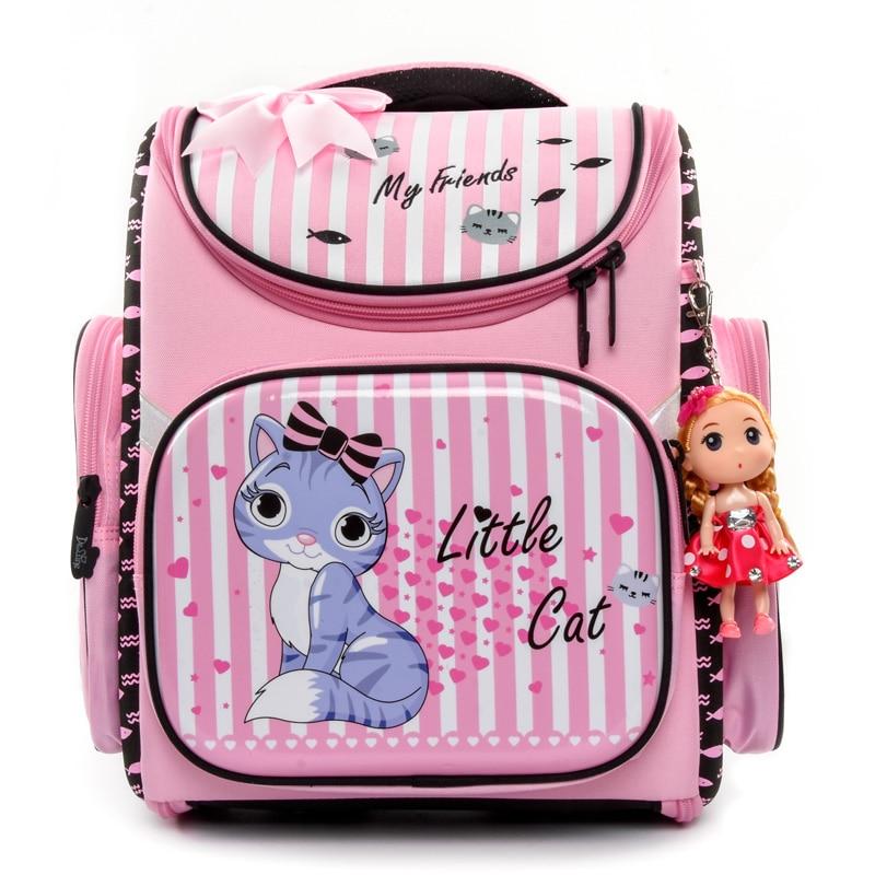 Delune wodoodporne dzieci plecak dziewczyny piękny różowy kot wzór ortopedyczne torba szkolna EVA tornister Mochila Infantil klasy 1 3 w Torby szkolne od Bagaże i torby na  Grupa 1
