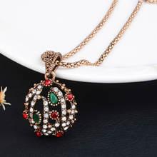 Винтажное ожерелье и кулоны Брендовое с зелеными кристаллами