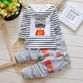 2015 spring hot sale baby boy clothes set casual cotton  long-sleeved T-shirt+Pants suit cat print Infant Set free shipping