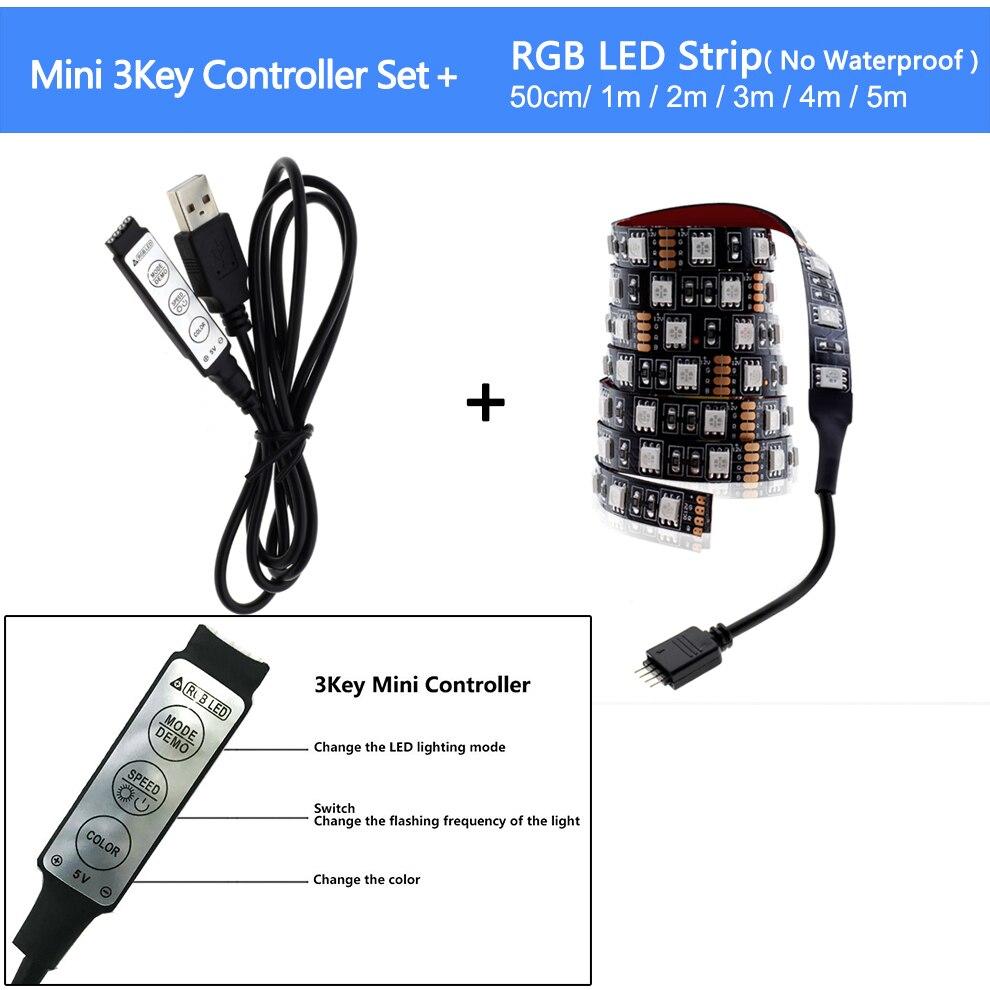 HTB117f3bdzvK1RkSnfoq6zMwVXak USB LED Strip 5050 RGB Changeable LED TV Background Lighting 50CM 1M 2M 3M 4M 5M DIY Flexible LED Light.