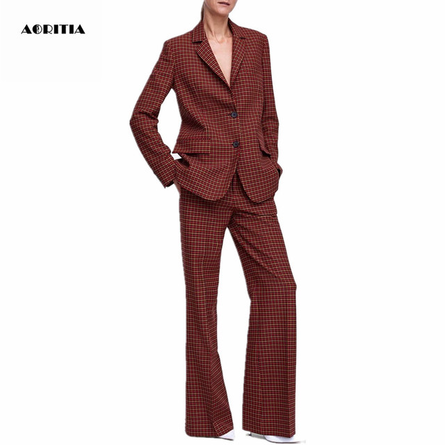75ccf4c2011 2019 Women Plaid Blazer Long Blazer Tops Trousers Set Blazers and Jackets Suit  Women