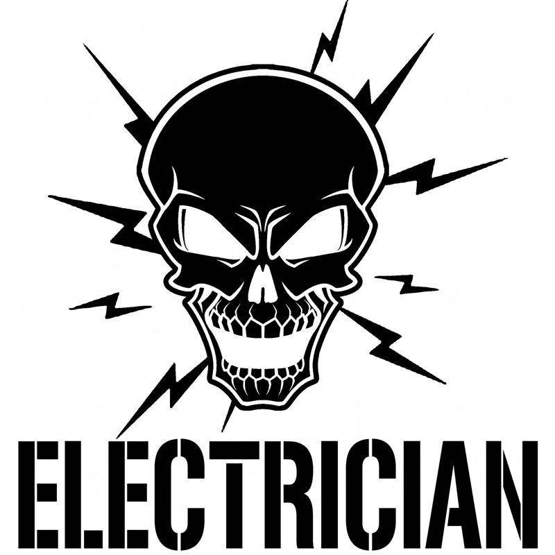 17.8CM*18.4CM Skull And Lightning Bolts Electrician VInyl Electric Sticker Car Accessories Car Sticker Black Sliver C8-1066