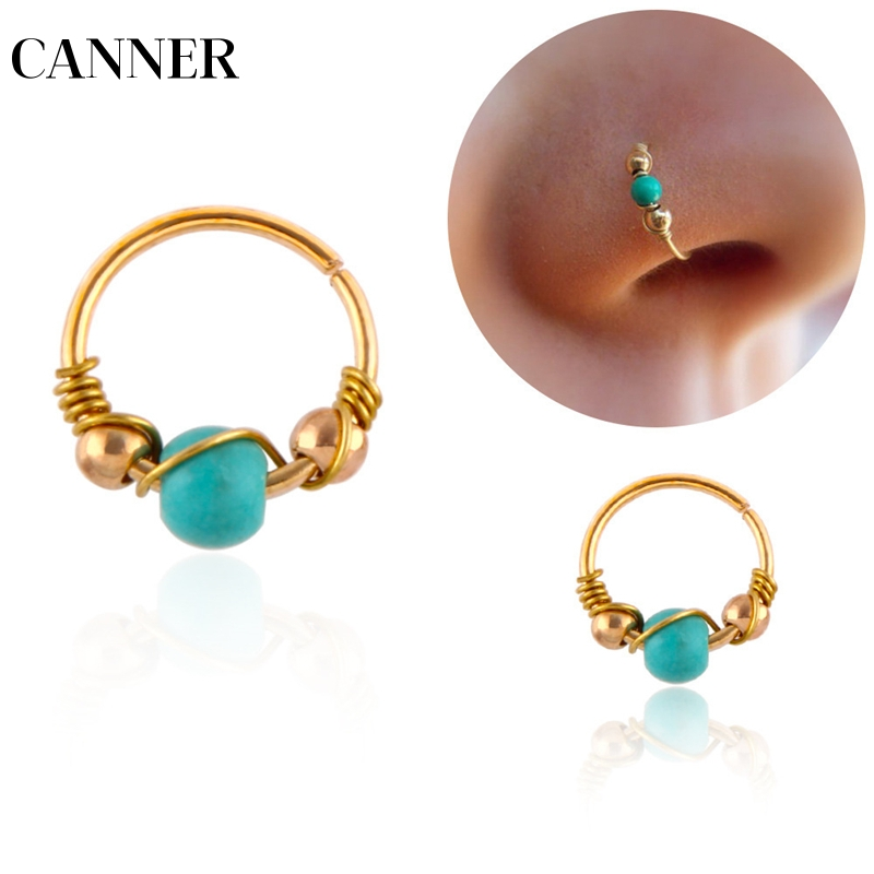 Canner 1pcs Hot Sale Indian Blue Stone Nose Ring Nostril Hoop Rings Nose Earring Hiphop Simple Body Piercing Jewelry