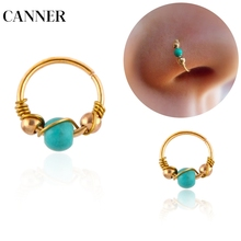 CANNER 1pcs Hot Sale Indian Blue Stone Nose Ring Nostril Hoop Rings Earring Hiphop Simple Body Piercing Jewelry R4