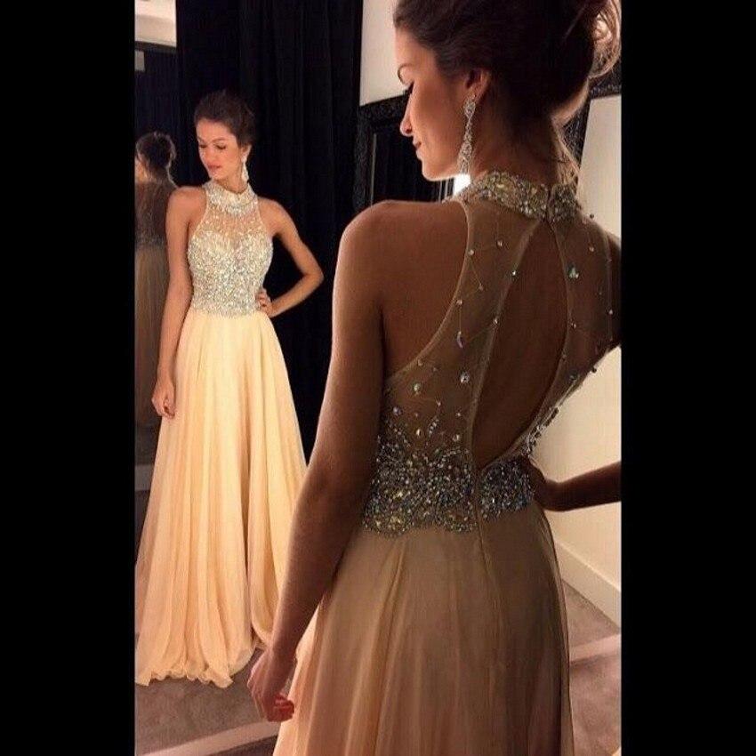 Turtle Neck Flowy Prom Dress