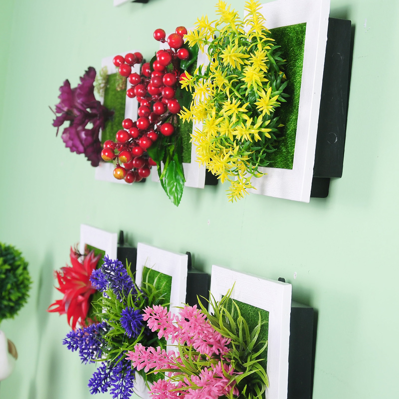home decoration 3d artificial flowers/plants imitation wood frame