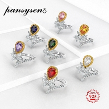 PANSYSEN 100% Real 925 Sterling Silver Rings Charms 6x8mm Drop Water Topaz Gemstone Couples Ring for Women Engagement Jewelry