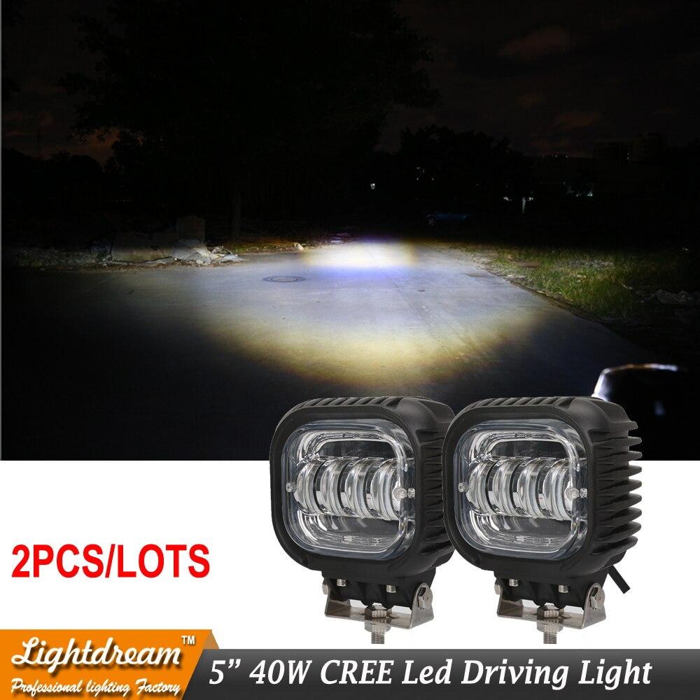 Пара 5 дюймов 40W круглый LED вспомогательный свет для света автомобиля 12V фара Вранглер JK СИДЖЕЙ работы Сид 10-30v управляя света свободный корабль
