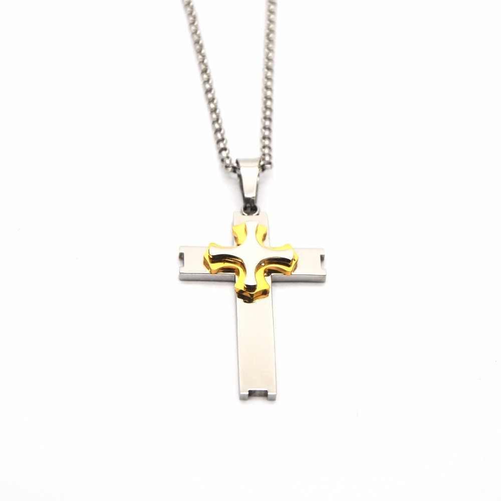 Cross สร้อยคอไบเซนไทน์ทองเงินสแตนเลสสตีลคาทอลิก Crucifix จี้ชาย Punk Rock เครื่องประดับ P050512