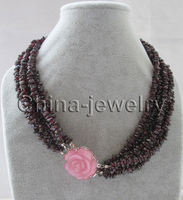 DD Wholesale FREE SHIPPING >>>> Beautiful 18 6row natural garnet chip necklace cat eye flower clasp