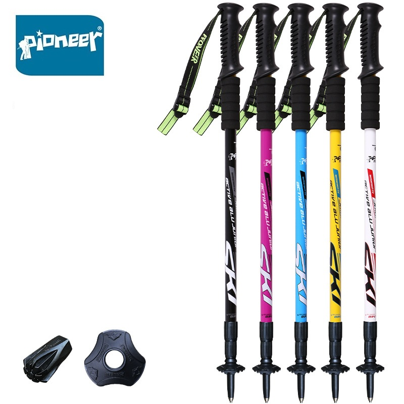 2 Pack Pioneer Anti Shock Nordic Walking Sticks Telescopic Trekking Hiking Poles Ultralight Walking Canes Wholesale 2 pcak carbon fiber trekking hiking poles ultralight telescopic trail nordic walking sticks 198g pcs