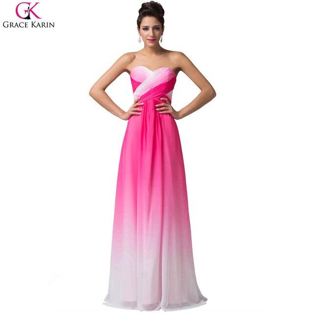 6435410c2 Grace karin vestidos de azul rosa gasa baratos vestidos de dama de under 50  vintage largo