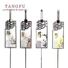 Plum Orchid Bamboo Chrysanthemum flower school metal Bookmark for book chinese school supplies teacher supplies stationery items