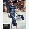 Европейский Стиль Плюс Размер Женщины Мода 2017 Весна Печати Midi Denim Dress Джинсы Платья Sexy Bodycon Wrap С Длинным Рукавом Dress Q09