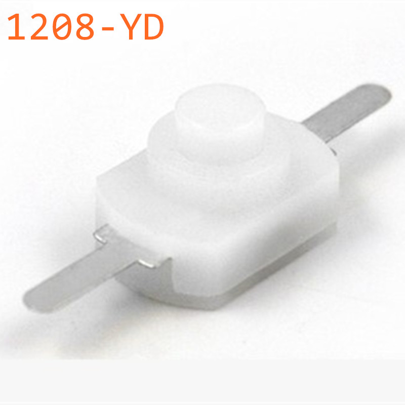 100pcs DC 30V 1A White On Off Mini Push Button Switch for Electric Torch 1208-YD Self-locking control Flashlight Switchs