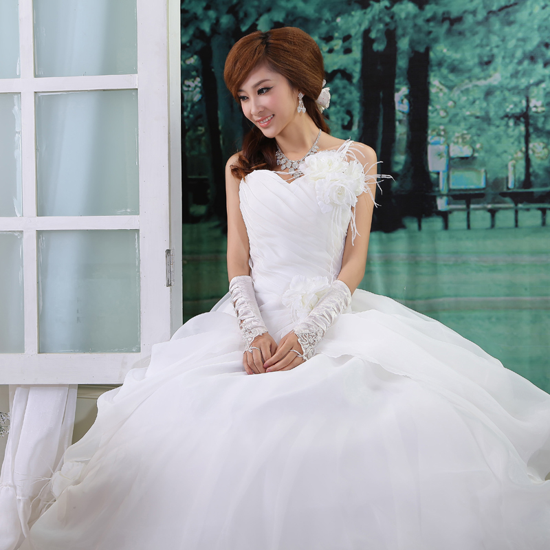 One Strap Wedding Gowns: Love 2014 Sweet Princess Feather One Shoulder Flower Strap