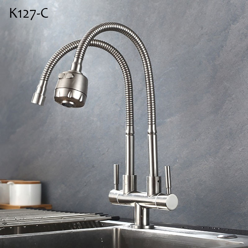 2021 Stainless Steel Kitchen Faucet Double Tap Head Single Cold Water Faucet Deck Mounted Single Water Tap From Chaowalmai2 53 52 Dhgate Com