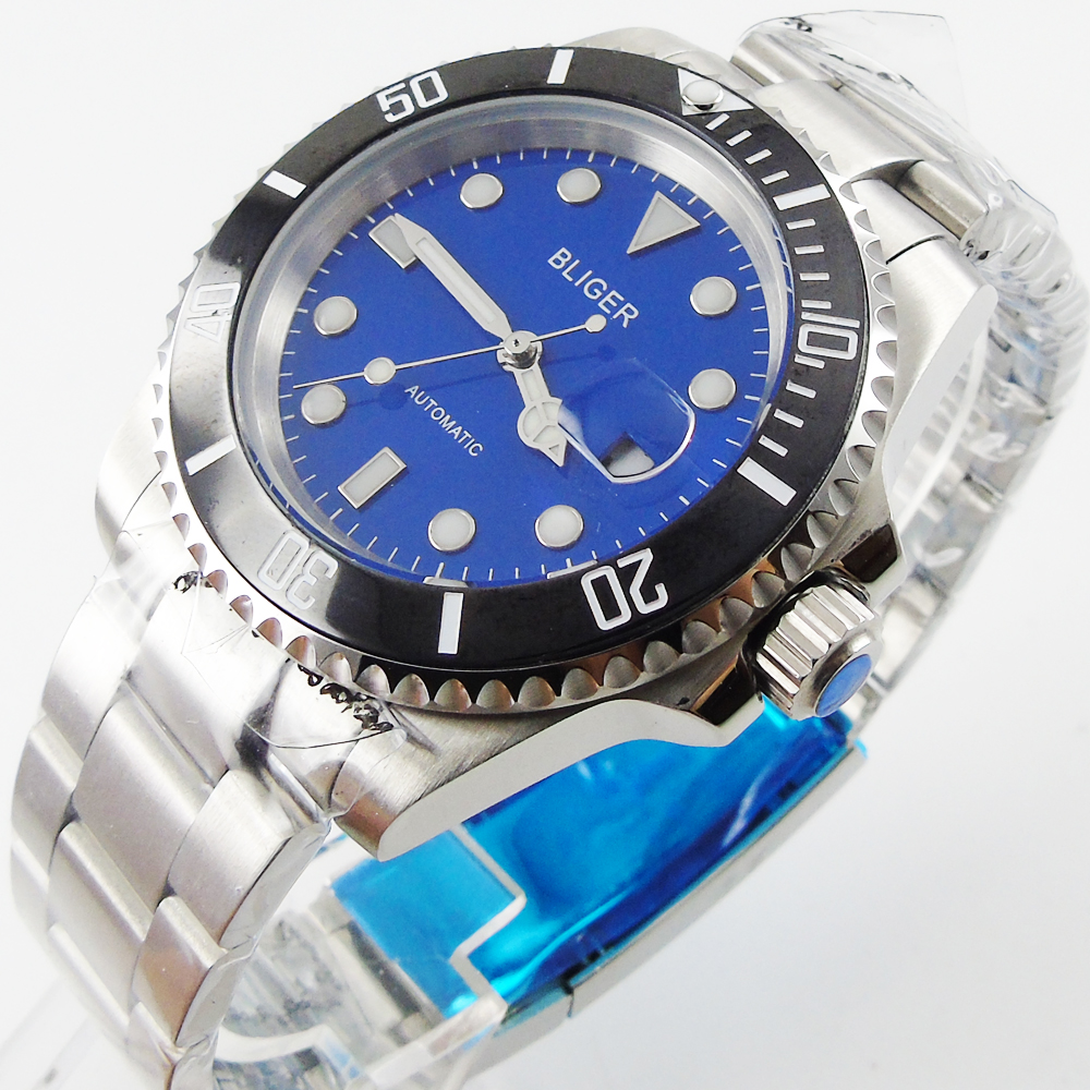 лучшая цена Bliger 40mm blue dial date black Ceramics Bezel saphire glass Automatic movement Men's watch