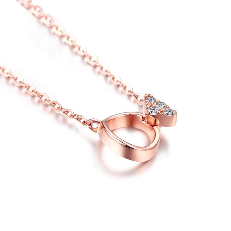 DOUBLE R 18 k Or Fine Jewelry Femmes Diamant Colliers SI 0.02ct Bonne Coupe Rose Romantique De Mariage Pendentifs personnalisés CASN02415KA - 2