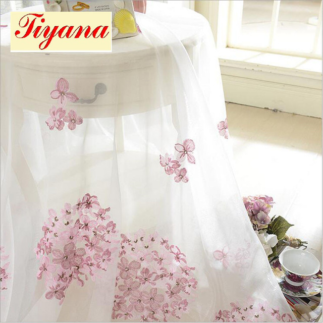 Embroidery Screen Romantic Pink Cherry Blossom Bedroom Window Voile Tulle  Curtains Sheer Living Room Hot Sale