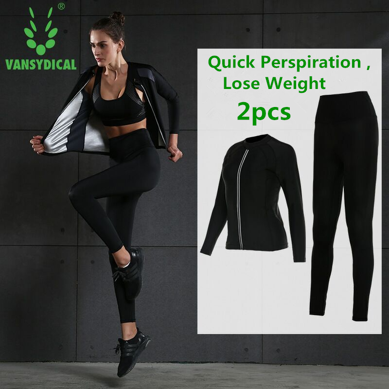 Vansydical Hot Sweat Sports Suit Womens Gym Clothes Fitness Running Yoga Set Lose Weight Slimming Jogging Suits SportswearVansydical Hot Sweat Sports Suit Womens Gym Clothes Fitness Running Yoga Set Lose Weight Slimming Jogging Suits Sportswear