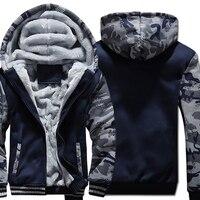 Men Solid Color Hoodies 2019 Winter Camouflage Jackets Hip Hop Sweatshirts Men's Tracksuit Navy Blue Plus size Hooded M 5XL