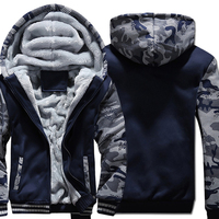 Men Solid Color Hoodies 2019 Winter Camouflage Jackets Hip Hop Sweatshirts Men's Tracksuit Navy Blue Plus size Hooded M 5XL