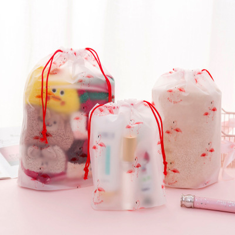 1pcs Flamingo Storage Bag Stationery Organizer Storage Bag Transparent Office Supplies Desktop Storage School Office Supplies
