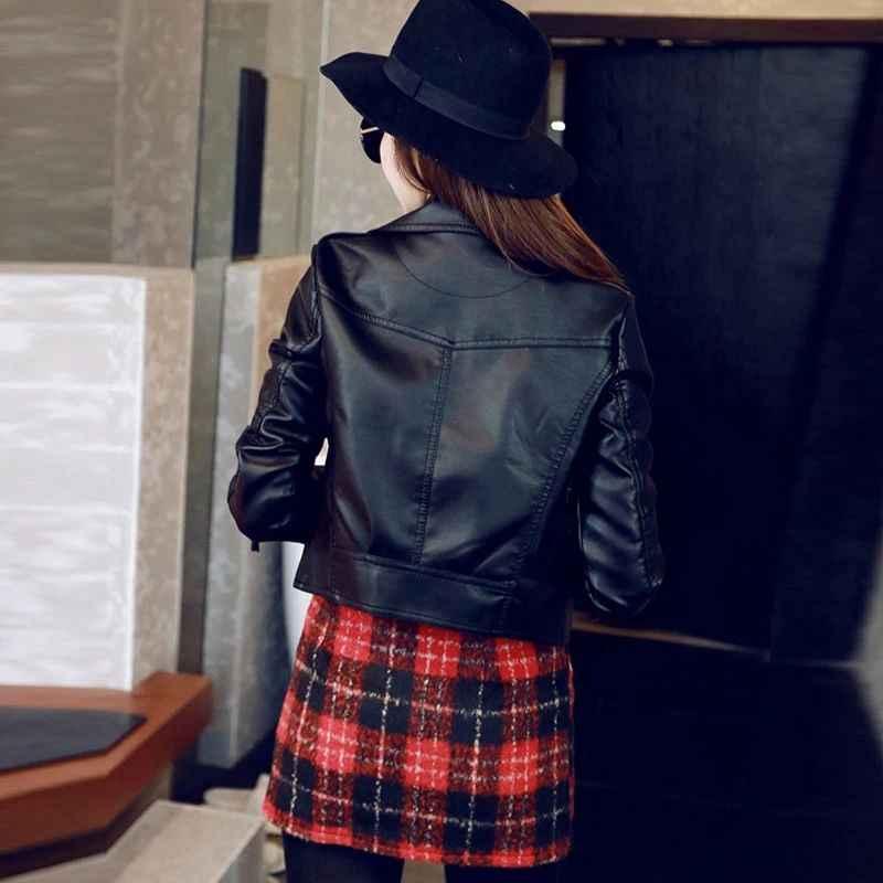 Sungtin 2019 vente chaude veste en simili cuir souple femmes flambant neuf printemps automne Biker veste courte basique manteau fermetures à glissière Outwear