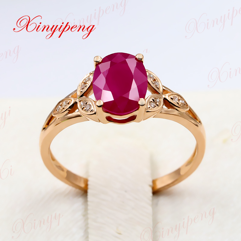 Xinyipeng18K rose gold 1.5 carat natural ruby ring with diamonds for women style beautiful generous gothic style faux crystal rose bracelet with ring for women