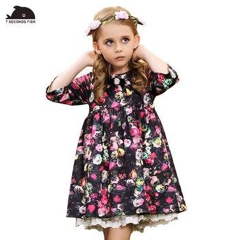 girl dress autumn 2017 print rose floral spring autumn girls dresses cotton lining  4 6 8 10 12 14 year old kids christmas dress Платье