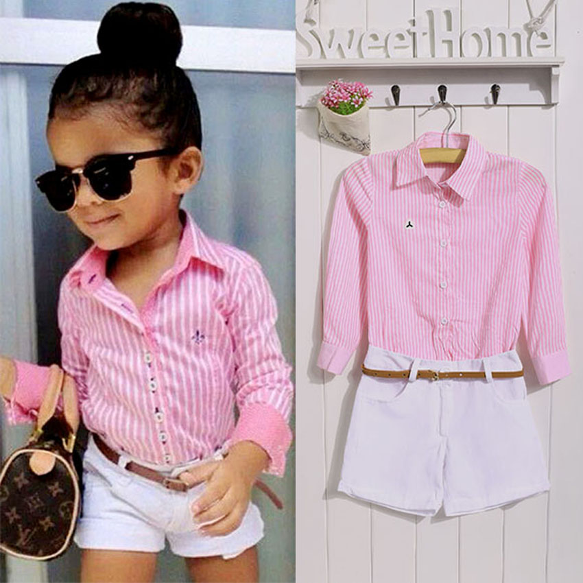 2017 Fashion Children Baby Girls clothes Kids Two-piece Outfits Set suit Stripe Long Sleeve Shirt + Shorts